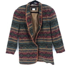 Harris/Wallace Sz S Oversized Blazer Wool Tribal